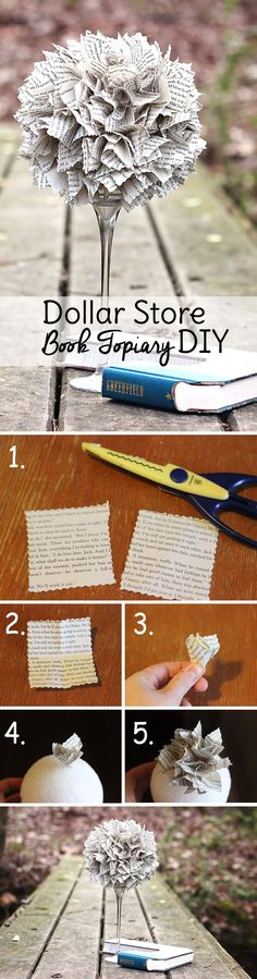 Easy DIY Old Book Page Topiary