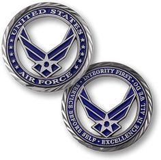 """U.S. Air Force """"Core Values"""" Challenge Coin ~ Visit AFWM.org for Basic Training and BMT Graduation information! #airman #airforce #challengecoin #corevalues #afgraduation #basictraining"""
