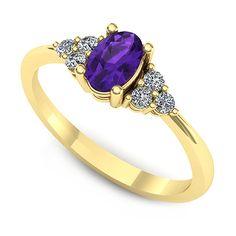 Inelul este format din:  * Piatra principala: 1 x ametist, dimensiune: ~6.00x4.00mm, forma: oval; * Pietre secundare: 6 x diamant, dimensiune: ~1.80mm, greutate totala: ~0.14ct, forma: round Ring Designs, Heart Ring, Sapphire, Aur, Gemstones, Yellow, Purple, Rings, Gold