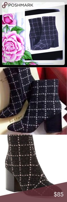 """🌹 Pink/Black Booties 🌹 🔸 Gorgeous Pink/Black Boucle Booties by the brand Bettye Muller with a 3"""" block heel in size 8 💕 🔸Retails for $325 and handfeel has a wool texture 🔸Top quality, very nicely padded on the inside, and very comfortable  🔸Only worn once and is in excellent condition ♥️ 🔸Bundle to save! 🌼 Other Shoes"""