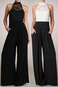 807bc4919bf WOMEN SLEEVELESS LACE TURTLE NECK JUMPSUIT Wide Leg Pants Long Evening S M  L Evening Trousers