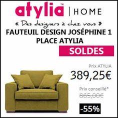 #missbonreduction; Soldes: 55% de réduction sur le FAUTEUIL DESIGN JOSÉPHINE 1 PLACE ATYLIA chez Atylia. http://www.miss-bon-reduction.fr//details-bon-reduction-Atylia-i4-c1840685.html