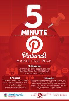 Pinterest infographic - 5 minute marketing plan for Pinterest #Infographic