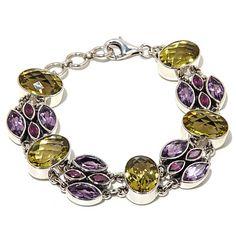 Nicky Butler 30.75ct Lemon Quartz, Amethyst and Rhodolite Sterling Silver Link Bracelet at HSN.com