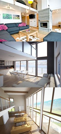 Living room interior designs with high ceilings.