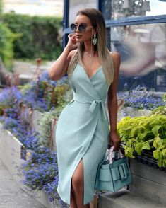 boutiquefeel / Spaghetti Strap V-Neck Wrap Slit Dress Simple Dresses, Elegant Dresses, Pretty Dresses, Beautiful Dresses, Casual Dresses, Short Dresses, Midi Dresses, Stylish Work Outfits, Classy Outfits