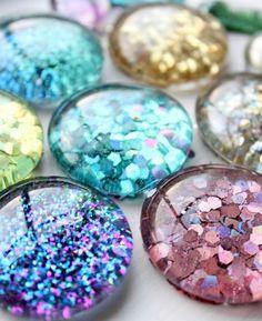 DIY Glitter Magnets - cute craft idea for