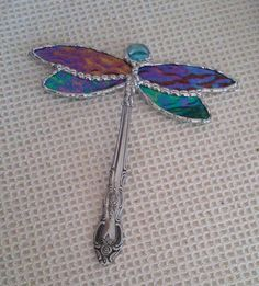 Dragon fly made from stain glass and spoon handle
