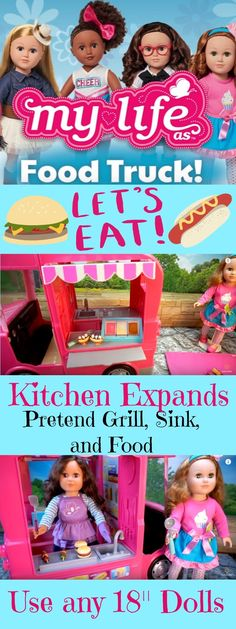 My Life As 18 Food Truck - New fun accessories for the My Life As Dolls. It expands so the dolls can get inside and cook. Just adorable!