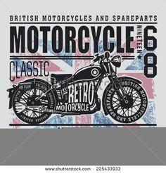 Vintage British motorcycle typography, t-shirt graphics, vectors