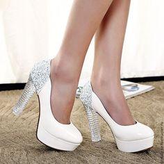 """Купить Свадебные туфли """"Хрустальные"""" - белый, туфли женские, свадебные туфли, свадебная обувь, обувь"""