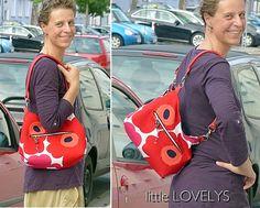 kleine Arya aus Marimekko-Stoff, zugeschnitten im Heidelberger Workshop 2014, Silke hat die Tasche dann zuhause fertiggenäht.  Lässt sich auch als Rucksack tragen :)
