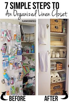 Getting and maintaining an organized linen closet is possible for anyone, as long as you follow these 7 simple steps to a linen closet you love. http://playdatesparties.com/2016/11/7-steps-organized-linen-closet.html