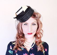 1940s Hat / VINTAGE / 40s Hat / Tilt / Navy Blue by HighHatCouture