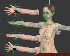 Realistic anime 3d girl body rigged