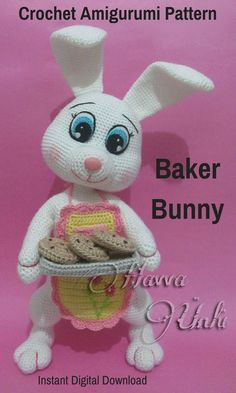 Baker Bunny is a sweet crocheted amigurumi doll that would love to share her home baked goodies. You can create your own Baker Bunny with this downloadable pattern. #crochet #amigurumi #crochetdoll #ad #amigurumidoll #amigurumipattern #bunny #baker #instantdownload