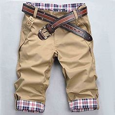 Men's+Black/Beige/Brown+Check+Pattern+Casual+Cropped+Pants+–+USD+$+14.99