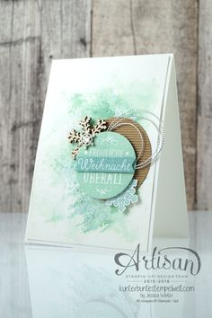 Watercolor card with SmooshingTechnik - Flockenzauber - Elementstanze Schneeflocke - Jessica Winter