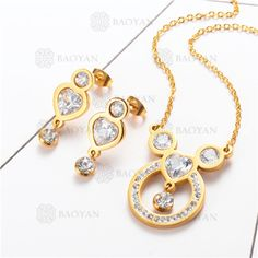 Conjunto de Joyas Acero Dorado para Mujer -SSNEG132-5919