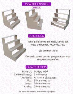 Escalera Base Stand Para Cupcakes 4 Niveles Mesa De Postres - $ 65.00