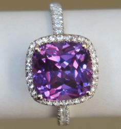 Lavender/Pink COLOR-CHANGE cushion-cut halo micropave ring, alternative engagement ring or right-hand ring (Size 7, design no. 1) Dream Engagement Rings, Alternative Engagement Rings, Purple Cocktails, Purple Love, Pink Color, Lavender Color, Purple Rings, Purple Jewelry, Right Hand Rings