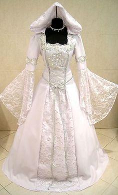 SILVER MEDIEVAL WEDDING DRESS VICTORIAN GOTH S-M 10-12-14 LARP RENAISSANCE ROBE  $223.77