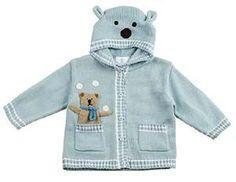 Florence Eiseman Baby Boys Light Blue Intarsia Bear Sweater - Ears on Hood Baby Boy Sweater, Knitted Baby Cardigan, Knit Baby Sweaters, Boys Sweaters, Baby Boy Knitting Patterns Free, Knitting For Kids, Baby Patterns, Sweater Patterns, Knit Basket
