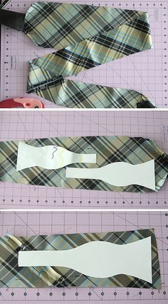 learn to make a bow tie from an old necktie with this free sewing pattern and easy sewing tutorial. great handmade gift for teen or tween boys!