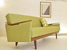 MID CENTURY MODERN SOFA BED RETRO VINTAGE DANISH INDUSTRIAL ERA TEAK 50s 60s 70s