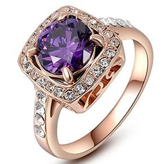 Eternity Love Womens 18K Rose Gold Plated Timeless Imitation Amethyst Princess Cut Wedding Engagement Rings Best Promise Rings for Her Anniversary Cocktail Bands TIVANI Valentines Day Gifts * Find out more about the great product at the image link.