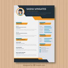 moderna de currículum vector g. Job Resume Template, Modern Resume Template, Creation Cv, Conception Cv, Cv Templates Free Download, Curriculum Template, Web Developer Resume, Graphic Design Lessons, Resume Skills