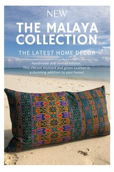 The Sarawak Hijau is the latest handmade and limited edition cushion in the Malaya Collection. Taking inspiration from South East Asia. This vintage Sarawakian green and mustard sarong cushion is a stunning addition to your beautiful home! Cushions On Sofa Color Schemes, Cushions For Grey Sofa, Living Room Cushions, Green Cushions, Sofa Colors, Cushion Inserts, Sofa Cushion Covers, Homemade Pillows, Diy Cushion