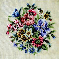 Handmade Needlepoint  Flower Bouquet  by GreenCottageCrafts.