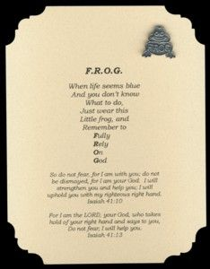 F.R.O.G. (Fully Rely On God) Pin & Card