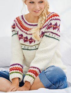 Women's Faire Isle Scandinavian Sweater Jumper Crochet Pattern Sizes Small-XLarge DIGITAL PDF File