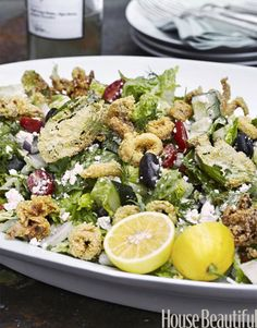 The dish combines two classic Mediterranean dishes: Greek salad and Italian fritto misto.   - HouseBeautiful.com