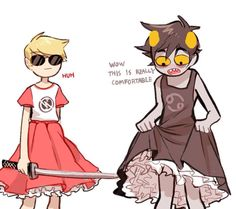KARKAT AND DAVE IN DRESSES OMG BOOTIFUL
