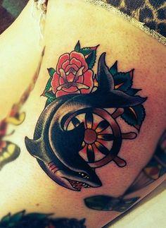 schools vintage tattoo old school om shark tattoos old school tattoos . Shark Tattoos, Elephant Tattoos, Foot Tattoos, Girl Tattoos, Tattoos For Guys, Sleeve Tattoos, Tattoos For Women, Tattoo Fish, Mermaid Tattoos