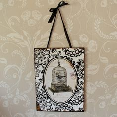 Black and White Birdcadge Plaque