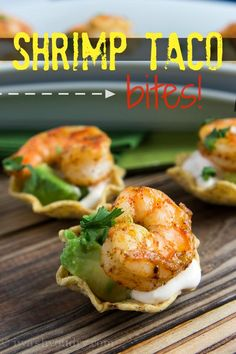 Shrimp Taco Bites Recipe ~ quick and easy… They're super addictive and the perfect finger food appetizer for any gathering!