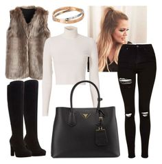 A fashion look from November 2016 featuring long sleeve crop top, faux fur vest and ripped jeans. Browse and shop related looks. Faux Fur Vests, Long Sleeve Crop Top, Ripped Jeans, Dune, Cartier, Prada, Feels, Topshop, Fashion Looks