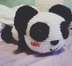 Panda laid on it stomach made for a client. Was a pleasure to do 🐼 #panda #crochet #kawaii #amigurumi #yarn #hobby #blackandwhite #cute #animal #craft #crafty #wool #plush #pandabear #bear