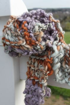 Hand Knit Bulky Scarf, in Purple, Gray, Orange and more, of Super Soft Handspun Hand Dyed Bulky Yarn on Etsy, $91.00