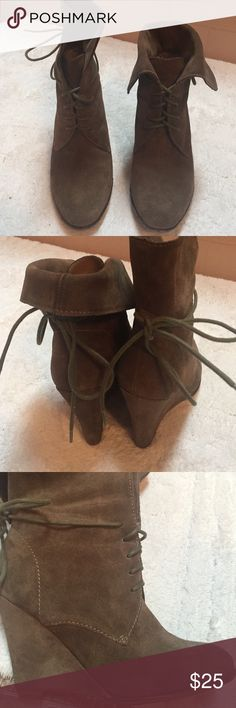 "Zara wedge heel booties 3.5""wedge heel booties can be worn folded over for a shorter look with skinny jeans or straight up  to wear with bootcut etc. Hardly worn. I wear a size 7 and these are a 38 and fit me fine Zara Shoes Lace Up Boots"