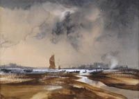 Rowland Hilder - Evening low tide by the estury 200