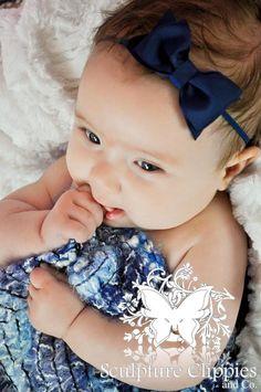 Navy Blue Baby Bow Headband. Infant, Baby Toddler, Girls Tuxedo Bow Soft Stretchy Headband. Holiday Christmas Headband.  Free Ship Promo.