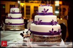 Purple wedding cake - Mickey topper!  Grand Plaza Resort, Imperial Ballroom.