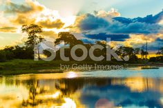 Colorful Sunset in Pantanal River, Brazil royalty-free stock photo