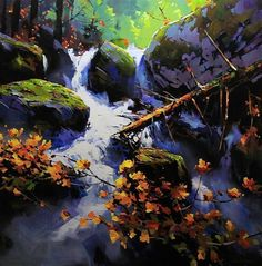 Stream in The Spirit Bear Rainforest by O'Toole Art, Acrylic, 36 x 36 Watercolor Landscape, Abstract Landscape, Landscape Paintings, Canadian Painters, Canadian Art, Waterfall Paintings, Spirit Bear, Pastel, Paintings I Love