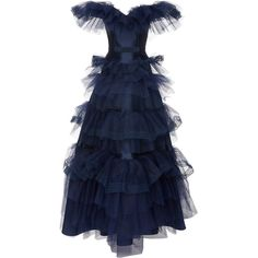 Off the Shoulder Tulle Gown | Moda Operandi ($4,445) ❤ liked on Polyvore featuring dresses and gowns